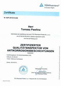 Pawlina T- certyfikat kontrolera jakości PL,DE,ENG-2
