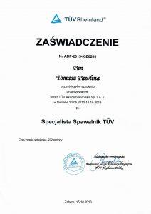 Pawlina T-certyfikat specj